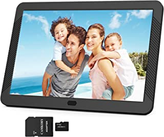 Digital Picture Frame 1920x1080 IPS Screen Include 32GB SD Card 16:9 1080P Video Frame, Photo Auto Rotate, Image Preview, Auto Turn On/Off, Auto Play, Background Music, Calendar, Clock(8 Inch Black)