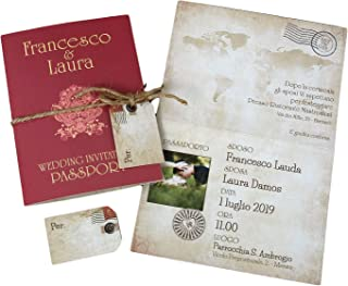 Partecipazioni matrimonio personalizzate - inviti nozze passaporto vintage con mappamondo disponibile in tutti i colori 10...