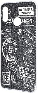 ケース ハードケース HUAWEI nova lite 3 (POT-LX2J) [デニム風・白スタンプ] トラベル Visa パスポート ビンテージ ノバライトスリー スマホケース 携帯カバー [FFANY] denim-h100@04