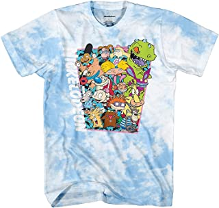 Nickelodeon Mens 90's Classic Shirt - Tie Dye Rugrats, Reptar, Ren & Stimpy, and Hey Arnold - Vintage Tie Dye T-Shirt