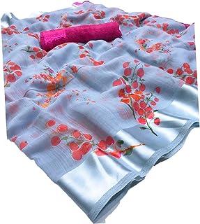 ANY DESIGNER Women's Blend Linen Saree with Unstitched Blouse Piece (RANDOM_2)