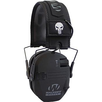 Walker's Razor Slim Compact Folding Ear & Hearing Protection Electronic Shooting Ear Muffs, Punisher Black