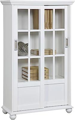 Amazon Com Essex Bookcase With Glass Doors 6 Shelf Aged