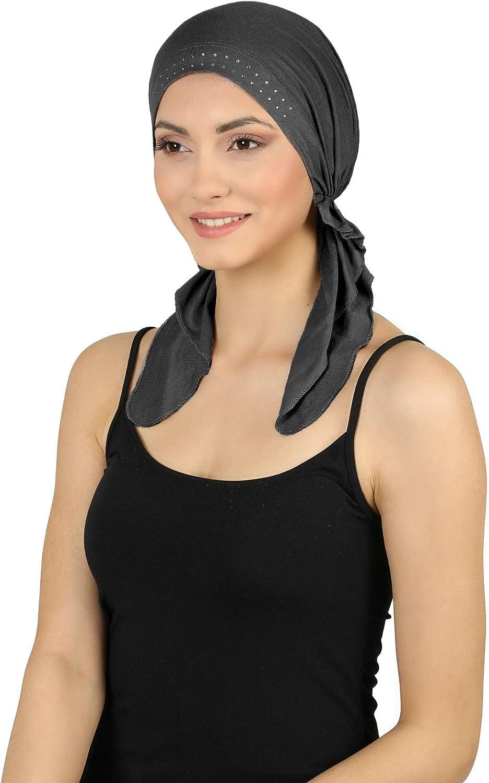 im Voraus gebunden und juwelenbesetzte Front Deresina Bandana f/ür Haarverlust
