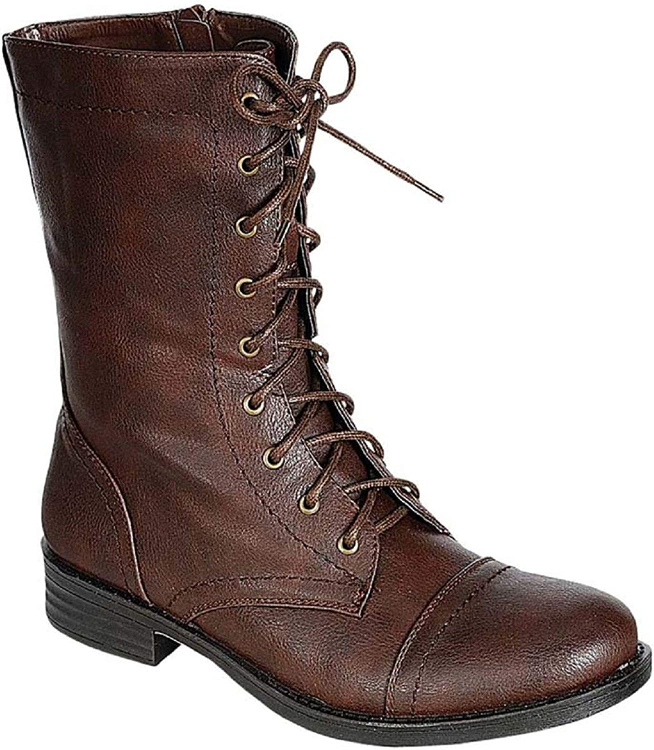 WW Sammy-08 Womens Mid Calf Lace Up Side Zipper Combat Military Construction Boots