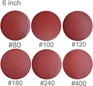 Sackorange 60 PCS 6-Inch NO-Hole PSA Aluminum Oxide Sanding Disc, Self Stick(10 Each of 80 100 120 180 240 400)