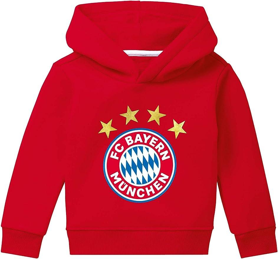 FC Bayern München - Felpa con cappuccio con logo rosso per bambini