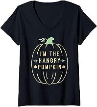 Womens I'm TheHangry Pumpkin - Matching Group Pumpkin Halloween V-Neck T-Shirt