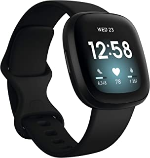 Fitbit Versa 3 Health & Fitness Smartwatch with GPS, 24/7 Heart Rate, Alexa Built-in, 6+ Days Battery, Black/Black, One Si...