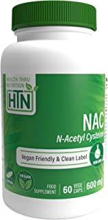 NAC 600mg N-Acetyl Cysteine 120 vegecaps Non GMO and Free from Common excipients Such as Magnesium Stearate and Silica by ...