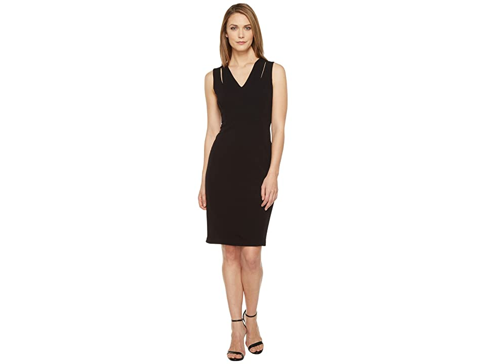 Calvin Klein Sheath Dress with Shoulder Cut Outs (Black) Women