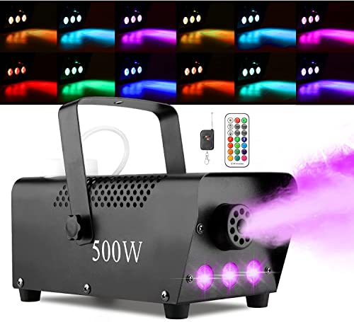 Halloween Fog Machine with Lights - 3 Stage LED Lights with 12 Colors & Strobe Effect for Party Wedding Holiday Chris...