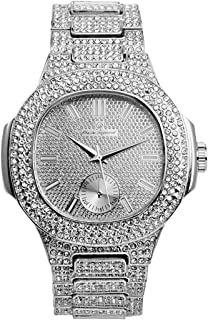 Bling-ed Out Oblong Metal Mens Color on Blast Silver Watch - 8475SilverColor