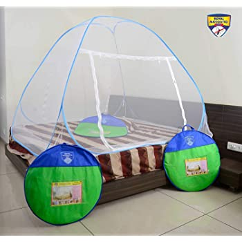GALOPPIA Double Bed Foldable Mosquito Net with Border (Blue)