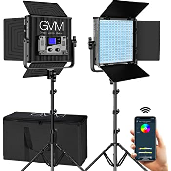 GVM RGB Video Lights with APP Control, 50W 360° Full Color Led Video lights, Dimmable Photography Lighting Video Lighting Kit with 8 Applicable Scenes, 2 Packs Led Panel Lights, 3200K-5600K
