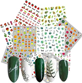 Nail Art Decals for Women 10 Sheets Watermark Transfer Nail Stickers Fruits Leaves Animals Flowers Fingernail Beauty Decorations Manicure Kits DIY Nail Art or Nail Salon