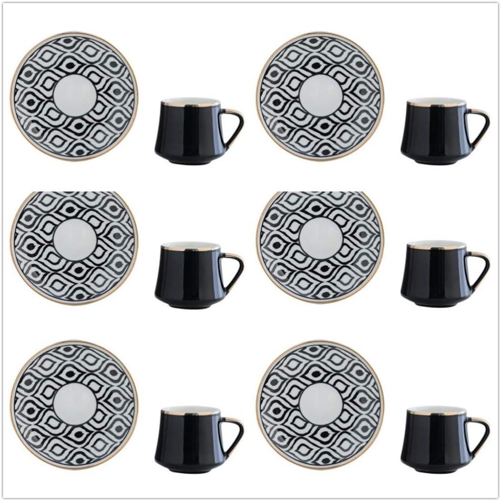 HRDZ cerámica Juego de Taza y Plato de café Té de la Tarde Taza de té Rojo Taza de café exprés A 6 Tazas 6 Platos 80ml