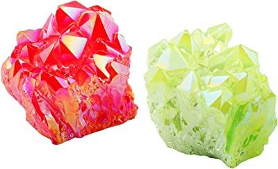 rockcloud Healing Crystal Pack of 2 Natural Titanium Coated Fluorescein&Red Rock Quartz Cluster Geode Druzy Home Decoration Gemstone Specimen