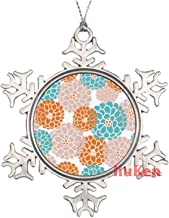 Seasonal Floral Pattern in Modern Fall Colors Christmas Ornaments,Christmas Tree Decoration Ornaments,Christmas Keepsake 2...