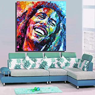 zxianc Bob Marley Portrait Oil Painting Canvas Artist Home Print Home Decoration Without Frame (No Frame) 80 80Cm