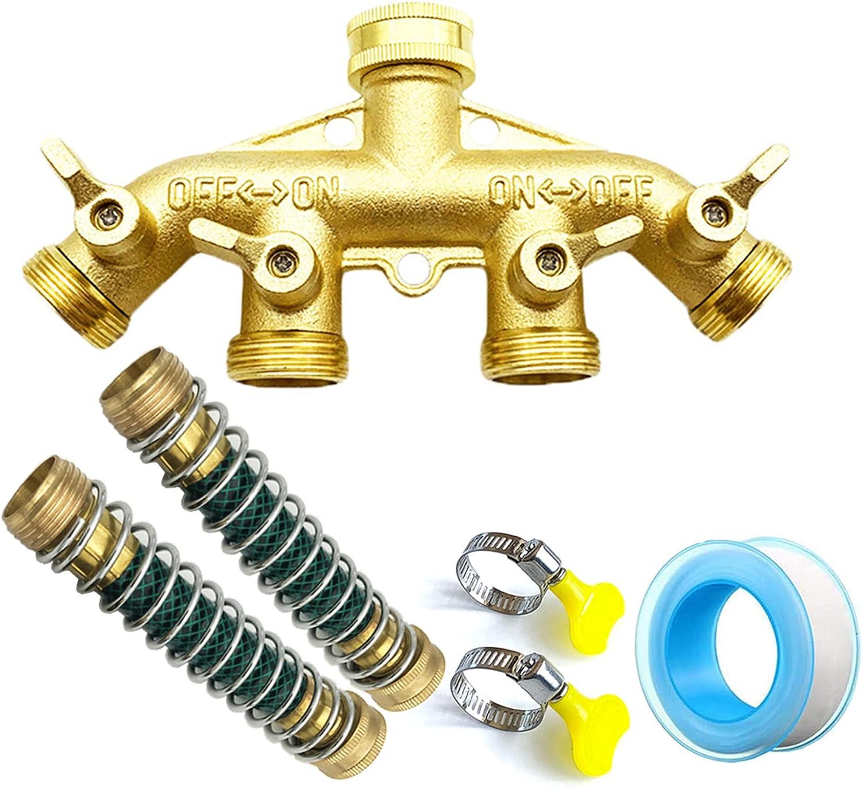 PhantomSky 4 Way Brass Garden Hose Splitter 4 Valves Irrigation Faucet Diverter Valve Adapter Tap Hose Connector 3/4