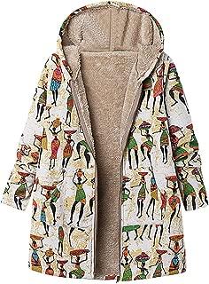 Aniywn Women's Plus Size Zipper Coat Ladies Thicker Winter Warm Printing Cardigan Hooded Outwear Tops
