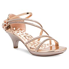 5ee16951379 OLIVIA K Women s Open Toe Strappy Rhinestone Dress Sandal Low .