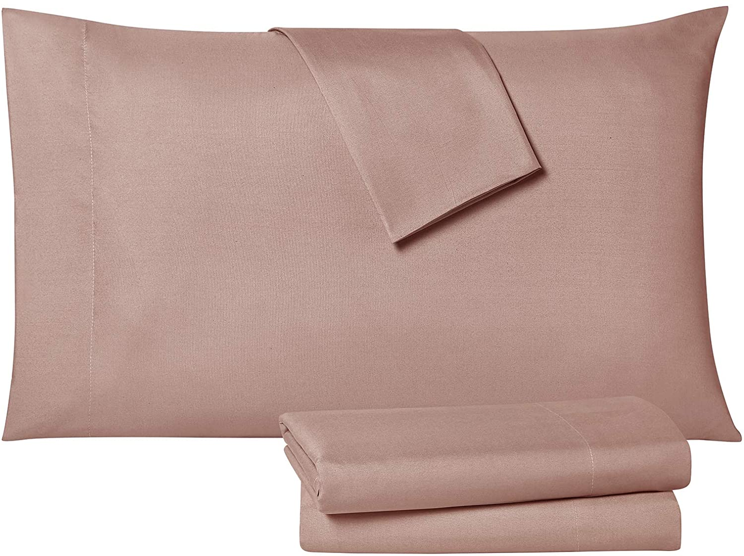 Tahari Home Modern Collection Premium Ultra Soft Lightweight Solid Sheet 6 Piece Set, Wrinkle, Stain Resistant & Hypoallergenic, Queen, Rose