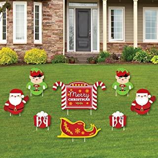 Big Dot of Happiness Jolly Santa Claus - Merry Christmas Yard Sign and Outdoor Lawn Decorations - Christmas Yard Signs - Set of 8