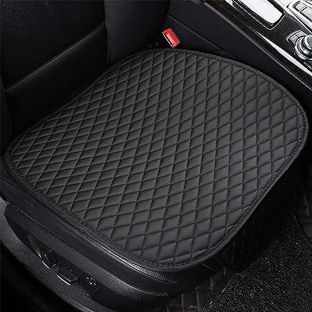 SOGLOTY - Funda de cojín para asiento de coche, con piel sintética, universal, protector de asiento interior de automóvil, para suministros de coche, silla de oficina (2 unidades), color negro