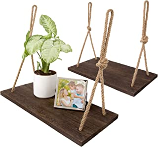 Dahey Wood Wall Floating Shelf Rustic Hanging Swing Rope Shelves, Set of 2 Wall Display Shelves Home Organizer Boho Decor Shelves for Living Room Bedroom Bathroom Kitchen
