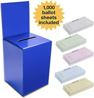 Large Ballot Box/Charity Box/Suggestion Box/Includes 1000 Entry Sheets/Use for raffles, Lead Generation, Collecting Business Cards, Voting, contests, suggestions (Blue)