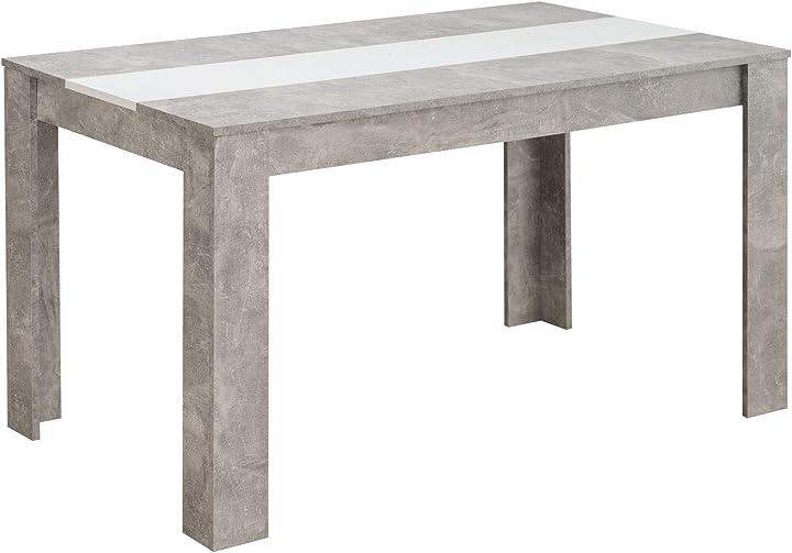 Tavolo da pranzo 135x80 - alberboia, cemento e bianco opaco 3855808016763
