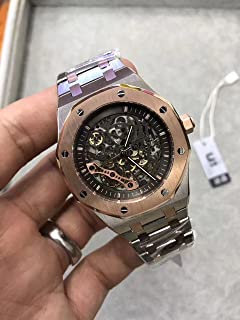 Luxury Brand Stainless Steel Two Tone Color Black dial Automatic Movement Skeleton Oak Watch Watches