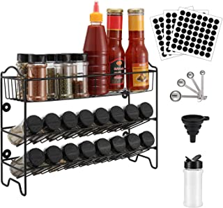 Magicfly Spice Rack with 24 Empty Spice Jars, 3-Tiered Wall Mount Seasoning Rack Spice Shelf Condiment Organizer with 49 Spice Labels, 1 Measuring Spoon & 1 Funnel for Countertop, Cabinet