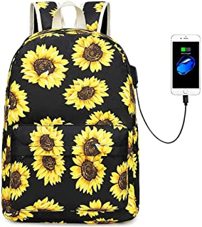 """Sunflower Canvas Backpack for College Girls Women with USB Charging Port, 14"""" Laptop Backpack Casual Daypack School Bookbag"""
