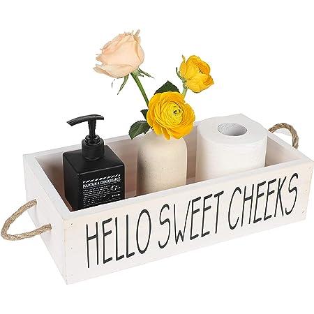 Caja de decoraci/ón de ba/ño decoraci/ón de ba/ño de granja,decoraci/ón de casa de granja r/ústica soporte de papel higi/énico divertido almacenamiento de ba/ño de cocina de madera