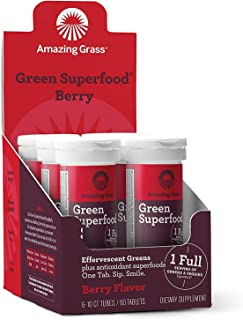 Amazing Grass Effervescent Tablets: Green Superfood Water Flavoring Tablet with Antioxidants & Alkalizing Greens, Berry, 6...