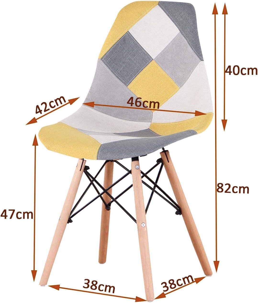 Sweethome Lot de 4 chaises de salle à manger modernes pour cuisine, salon, chambre à coucher, café, restaurant (rouge) Jaune