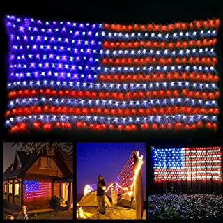 YULIANG LED Flag Net Lights of The United States,6.5ft3.2ft Waterproof American Flag Light for Independence Day,Memorial Day, Festival, Garden,Indoor and Outdoor Decoration