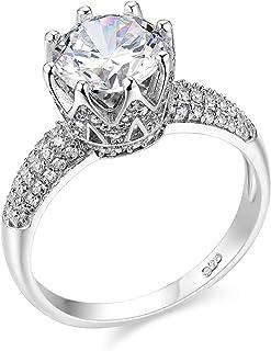Wuziwen Gemstone Crown Statement Ring for Women Round Cut AAA Cz 925 Sterling Silver Size 5-10