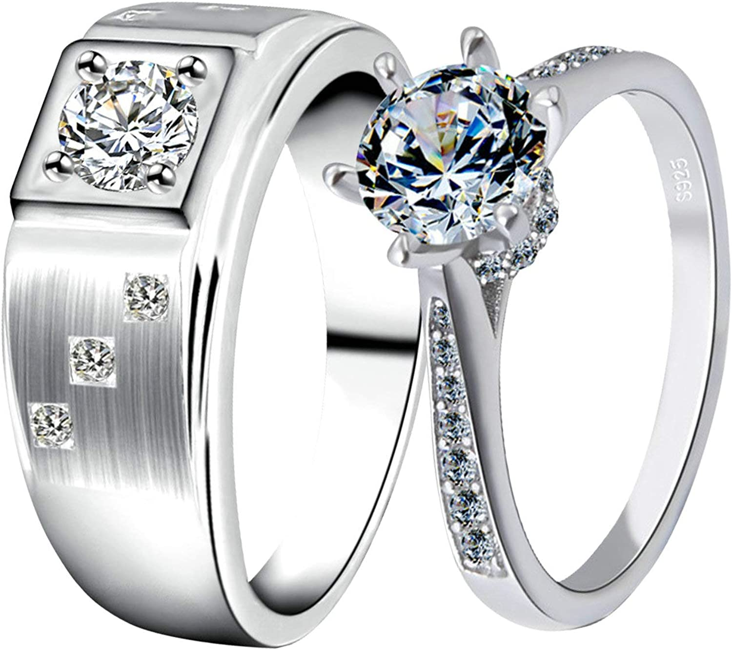 KnBoB His Hers Matching Wedding Max 55% OFF Silver Ro Zirconia Cubic cheap Rings