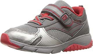 Stride Rite Baby Indy Boy's and Girl's Premium Leather Sneaker, grey/red, 4 M US Toddler