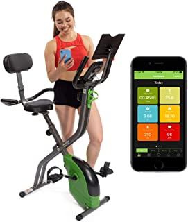 ShareVgo Bluetooth Smart Folding Semi Recumbent Magnetic Upright Exercise Bike with free APP for Indoor Bike Workout Log a...