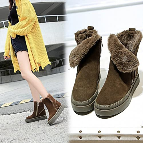 ZH Chaussures d'hiver, Bottes Chaudes Et épaisses, Bottes en Coton pour Femmes