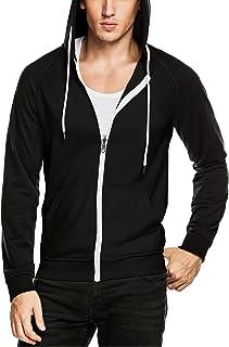 DAIKEN Men's Zip-up Hoodie Slim Fit Zipper Hooded Sweatshirt Raglan Sleeve Color Block Jacket