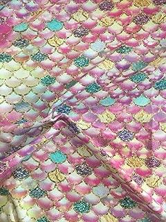 Euro Oeko-Tex Knit Glitter Mermaid Scales Design Fabric by The Yard, 92% Cotton, 8% Lycra, 60 Inches Wide, 4 Way Stretch, Medium Weight (4 Yards)