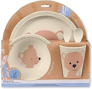 Ausgezeichnetes Geschenk f/ür Baby MUIFA Baby Saugnapfsch/üssel mit 2 Pcs L/öffel Blau Bambus BPA-frei Esslernteller f/ür Kleinkinder