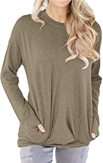 Dutebare Women Long Sleeve Round Neck Sweatshirt Pocket Pullover Loose Tunic Shirts Blouse Tops