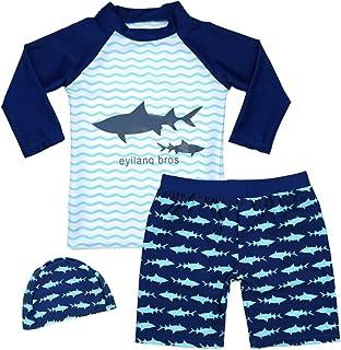 HONISEN Boys Two Piece Rash Guard Swimsuits Kids Short Sleeve Sunsuit Swimwear UPF 50+